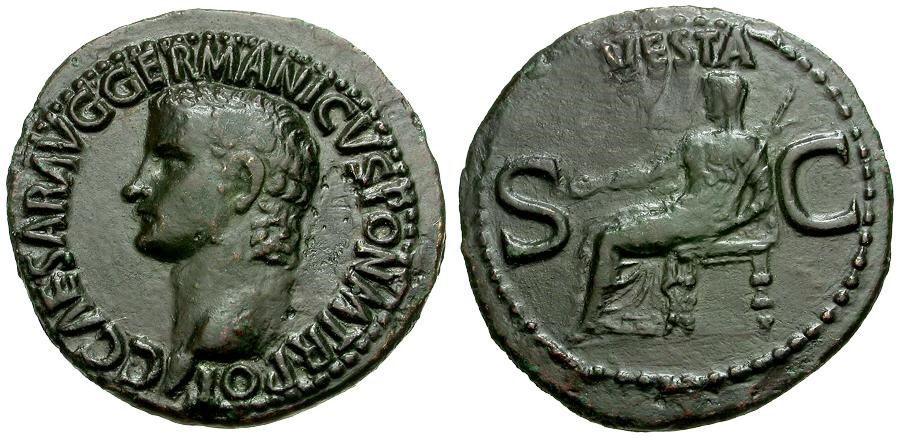 Ancient Coins - Caligula Æ AS / Vesta Seated