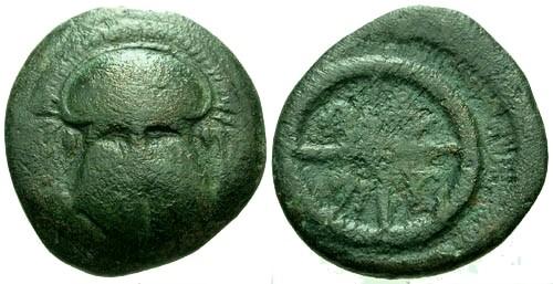 Ancient Coins - gF/F Thrace Mesembria AE18 / Helmet