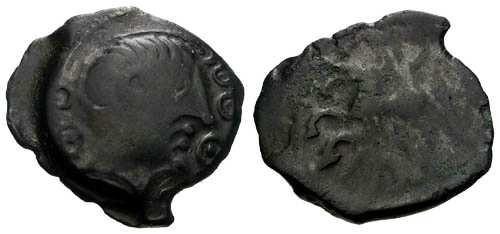 Ancient Coins - aEF/VG Bellovaci Tribe Bronze / Supurb Celtic Bust / Beautiful Black Patina