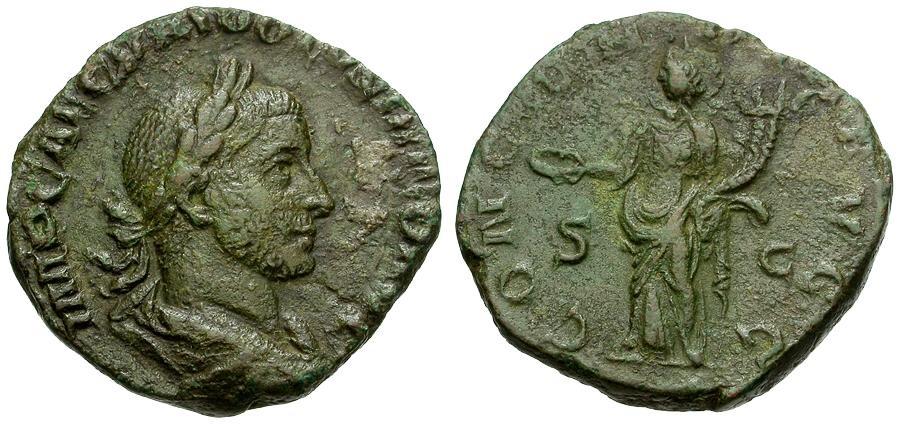 Ancient Coins - Volusian Æ Sestertius / Concordia