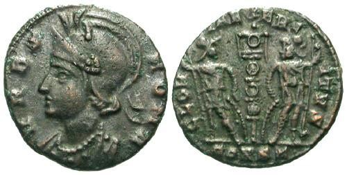 Ancient Coins - VF/VF VRBS ROMA AE17 / Soldiers and Standard