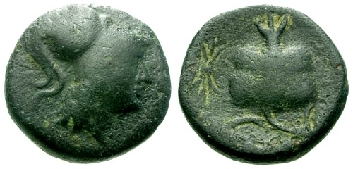 Ancient Coins - aVF/aVF Pamphylia Side AE15 / Pomegranate