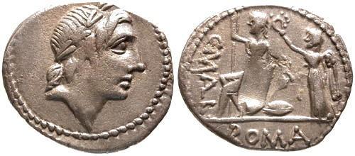 Ancient Coins - 118 BC / VF/VF Poblicia 4 Roman Republic Denarius / Rare / Roma seated Victory behind