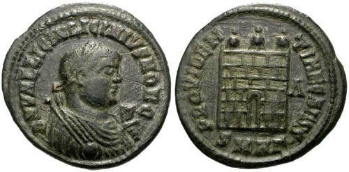 Ancient Coins - VF Licinius II AE3 / Campgate