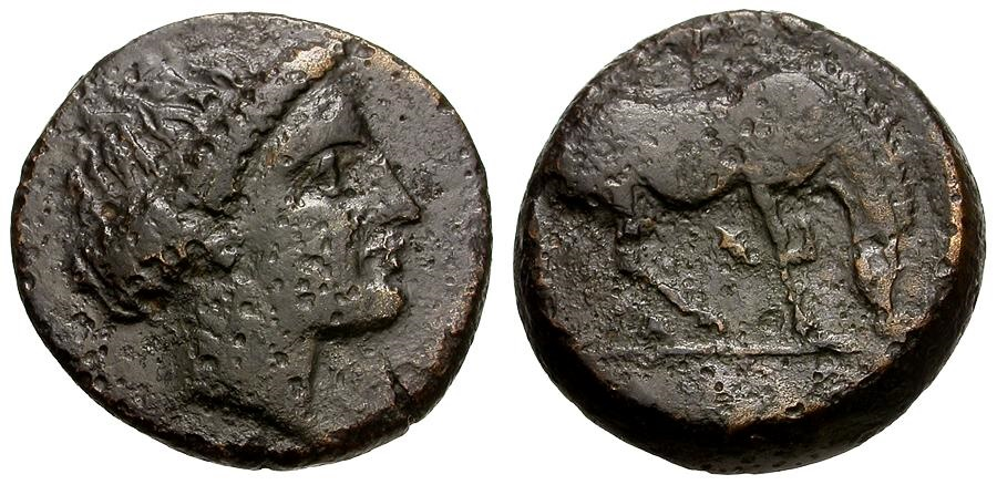 Ancient Coins - Thessaly.  Larissa Æ16 / Horse