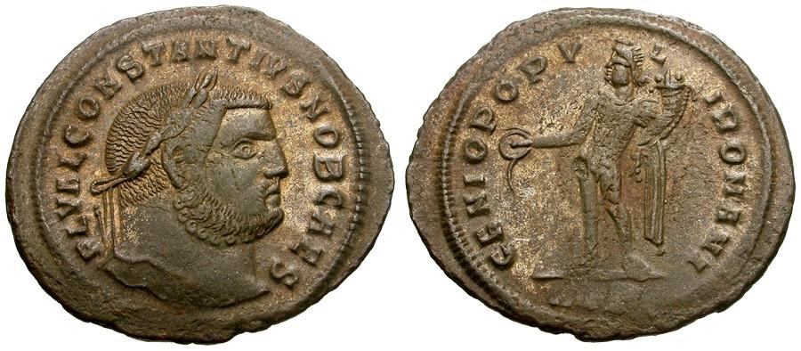 Ancient Coins - Constantius I as Caesar Silvered Æ Follis / Genius