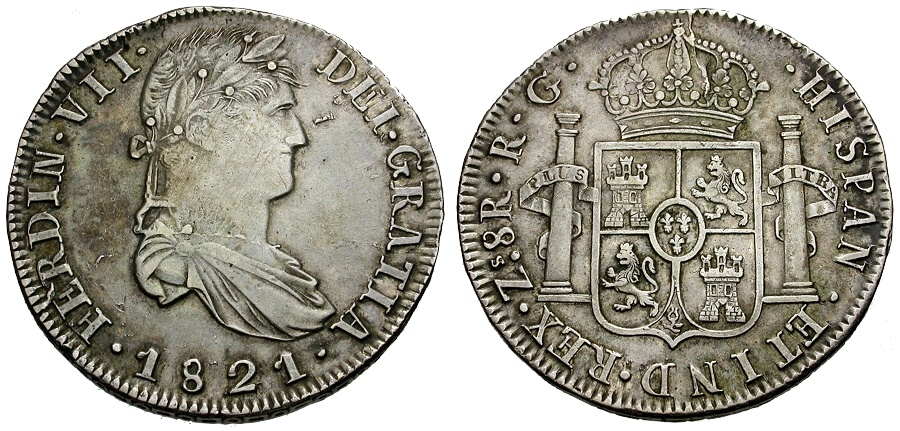 Ancient Coins - Mexico.  Ferdinand VII AR 8 Reales