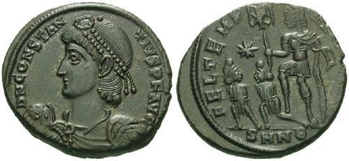 Ancient Coins - EF/ aVF Constantius II Centenionalis / Emperor holding Standard and Captives