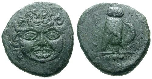 Ancient Coins - aVF/aVF Sicily Kamarina AE Trias / Gorgon and Owl