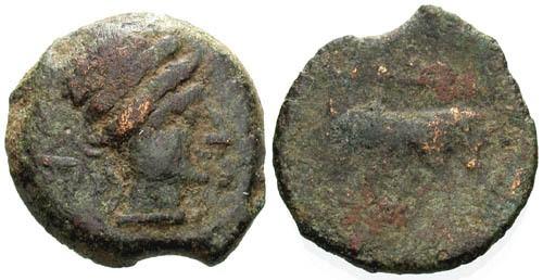 Ancient Coins - gF/aF AE 14 of Massalia Gaul / Bull