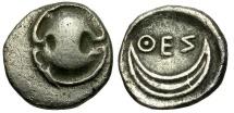 Boeotia. Thespiai AR Obol / Shield and Crescent