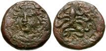Ancient Coins - Sicily. Syracuse Æ Tetras / Octopus