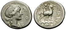 Ancient Coins - 114-113 BC - Roman Republic. M. Aemilius Lepidus AR Denarius / Equestrian Statue