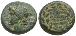 Ancient Coins - Julia Augusta (Livia)(died AD 14). Phrygia. Eumenia, Magistrate Kleon Agapetos Æ13 / Wreath