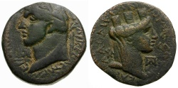 Ancient Coins - Domitian. Laodicea ad Mare Æ24 / Bust of Tyche