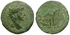 Ancient Coins - Antoninus Pius. Lycaonia. Savatra Æ26 / Male deity and Fish