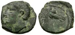 Ancient Coins - Barcids in Spain. Carthago Nova Æ15 / Scipio Africanus?