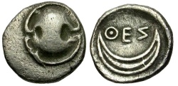 Ancient Coins - Boeotia. Thespiai AR Obol / Shield and Crescent