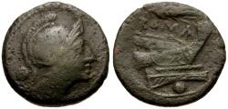 Ancient Coins - 214-212 BC - Roman Republic.  Sicilian Mint.  Anonymous Æ Uncia / Grain Ear