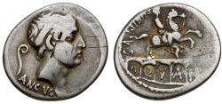 Ancient Coins - 56 BC - Roman Republic. L. Marcius Philippus AR Denarius / Aqueduct & Equestrian Statue