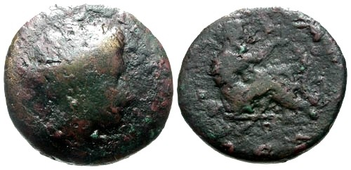 Ancient Coins - F/F Thessaly Trikka AE22 / Asklepios