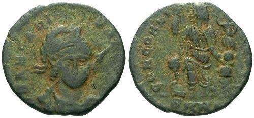 Ancient Coins - F/F+ Arcadius AE Facing Portrait