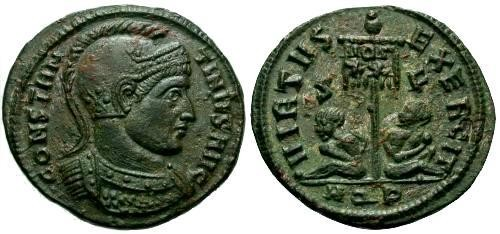 Ancient Coins - EF/EF Constantine the Great AE3 / Captives