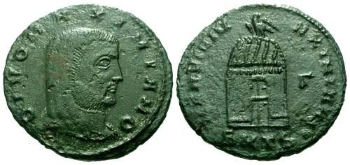 Ancient Coins - aVF/aVF Galerius AE Follis Posthumous issue struck under Licinius / Shrine / Unlisted in RIC