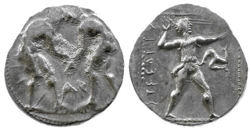 Ancient Coins - aVF/VF Pamphylia Aspendos AR Stater / Wrestlers / Slinger