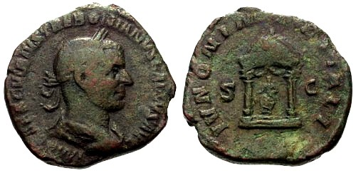 Ancient Coins - aVF/aVF Trebonianus Gallus AE Sestertius / Temple of Juno