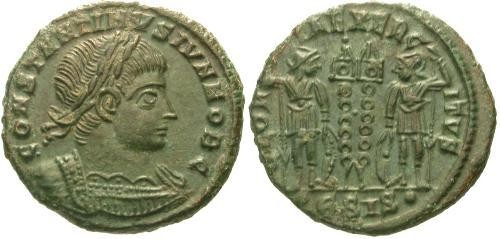 Ancient Coins - EF/EF Constantine II as Caesar AE3/4 / Two soldiers