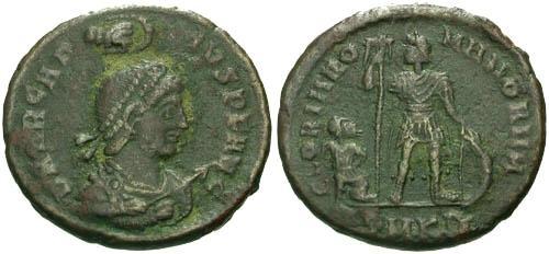 Ancient Coins - VF/F Arcadius AE2 / Wreath Above Head Bust Type