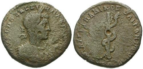 Ancient Coins - F/gF Macrinus AE26 Nicoplis as Istrum / Snake on pole