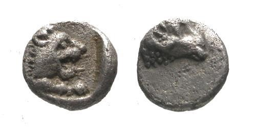Ancient Coins - VF/VF Caria Uncertain Mint Fractional Silver 1/4 Obol / Lion and Ram