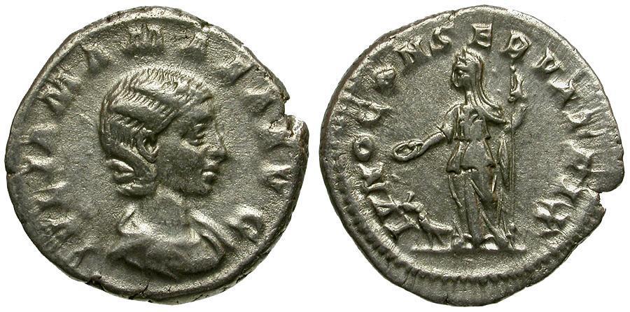 Ancient Coins - Julia Mamaea AR Denarius / Juno