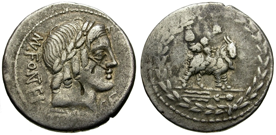 Ancient Coins - 85 BC - Roman Republic Mn. Fonteius C.f. AR Denarius / Genius or Cupid Riding Goat