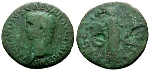 Ancient Coins - F/F Claudius AE AS / Libertas
