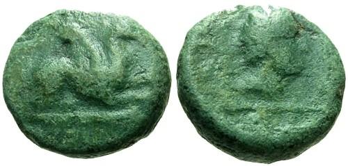 Ancient Coins - gF/gF Thrace Abdera AE14 / Griffin