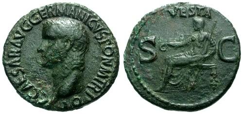 Ancient Coins - VF/VF Caligula AE AS / Vesta