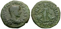 Ancient Coins - Hostilian Caesar. Moesia Superior. Viminacium Æ27 / Moesia between Bull and Lion