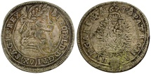 World Coins - Holy Roman Empire.  House of Habsburg. Leopold I the Hogmouth AR 15 Kreuzer