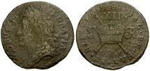 Ancient Coins - Ireland. James II Æ Shilling / Gunmoney