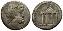 78 BC - Roman Republic. M. Volteius AR Denarius / Jupiter and Temple