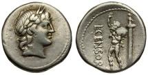 Ancient Coins - 82 BC - Roman Republic.  L. Marcius Censorinus AR Denarius / Apollo / Marsyas