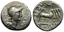 Ancient Coins - 82 BC - Roman Republic. L. Manlius Torquatus and L. Cornelius Sulla AR Denarius / Sulla in Quadriga
