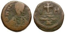 Ancient Coins - Byzantine Empire.  Maurice Tiberius Æ Decanummium