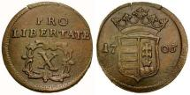 World Coins - VF/VF Hungary Franz II Rakoczi Copper 10 Poltura