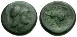 Ancient Coins - Lokris.  Lokris Opuntii Æ13 / Athena and Grapes