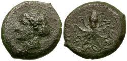 Ancient Coins - Sicily. Syracuse Æ15 / Arethusa and Cuttlefish