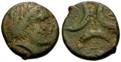 Ancient Coins - gF+/gF+ Bruttium, Kroton Æ21 / Persephone / Three Crescents